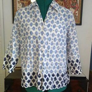 Batik Embroidered Blue Cotton Blouse